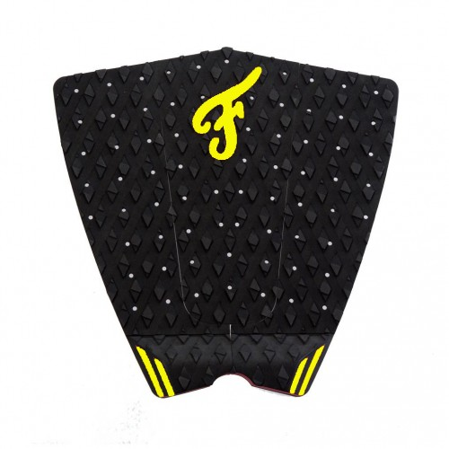 Famous Surf Supply- The Fillmore Yellow Black Surfboard Traction Pad 3 Piece Deck Grip